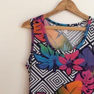 NWT LG Tropical Lularoe Nicki Tank Dress Fit Flare